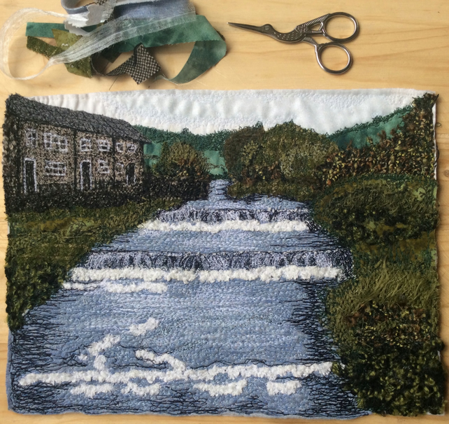 Up-cycled embroidered landscape of Gayle Beck, Hawes in the Yorkshire Dales.