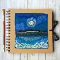 Square embroidered seascape journal or sketchbook.