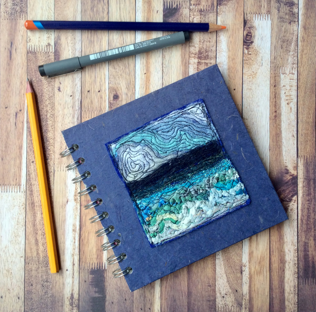 Square Seascape embroidered sketchbook or journal.