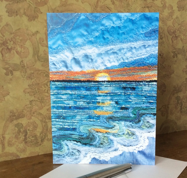Sunset seascape blank card.