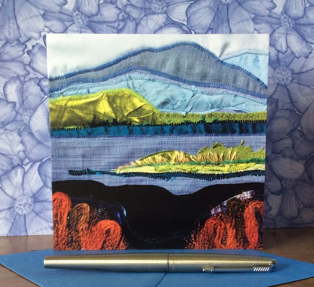 Across the water landscape textile card.