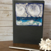 Seascape embroidered A5 lined notebook.