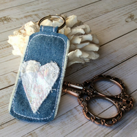 Up cycled heart embroidered keyring.