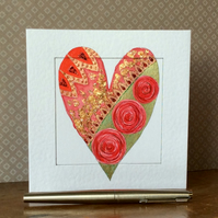 Luxurious gold leaf heart Art Card.