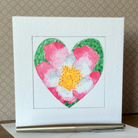 Wild rose hand painted heart Art Card.