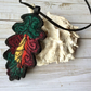 Unique oak leaf embroidered necklace.