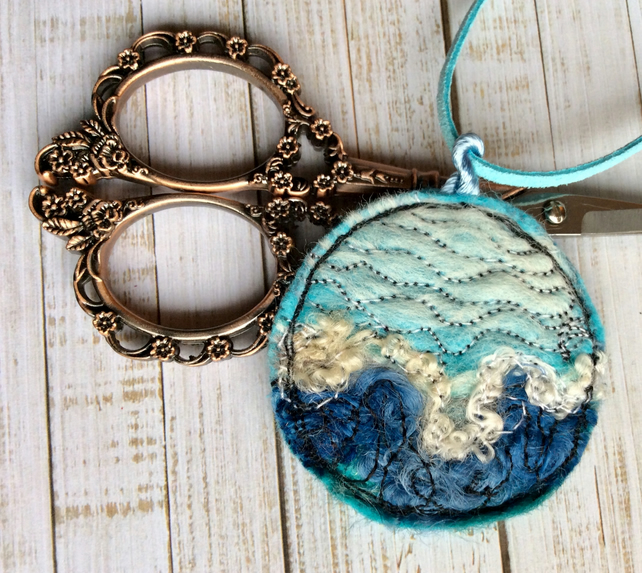 Seascape needle felted embroidered necklace.