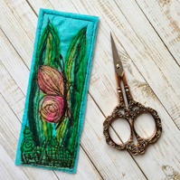 Embroidered butterfly bookmark