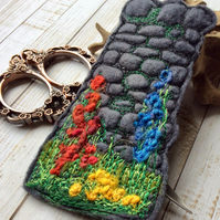 Dry stone wall and hedgerow embroidered bookmark.