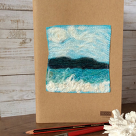 Embroidered seascape sketchbook or kraft book.