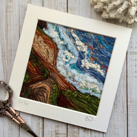 Embroidered seascape.