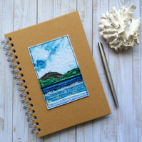Embroidered seascape notebook