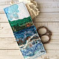 Embroidered seascape bookmark.
