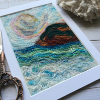 Needle felt embroidered seascape.