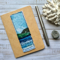 Embroidered A6 lined seascape notebook.