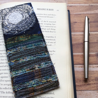 Embroidered moonlit seascape bookmark.