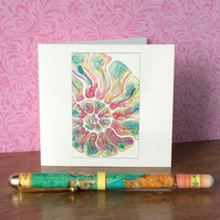 Watercolour ammonite printed blank card.
