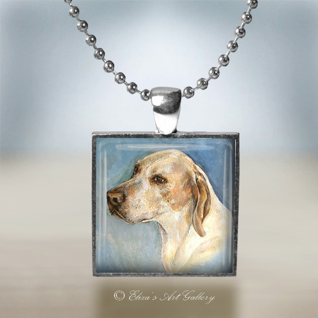 Silver Plated Pointer Dog Art Pendant Necklace