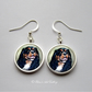 Silver Plated King Charles Spaniel Dog Art Earrings