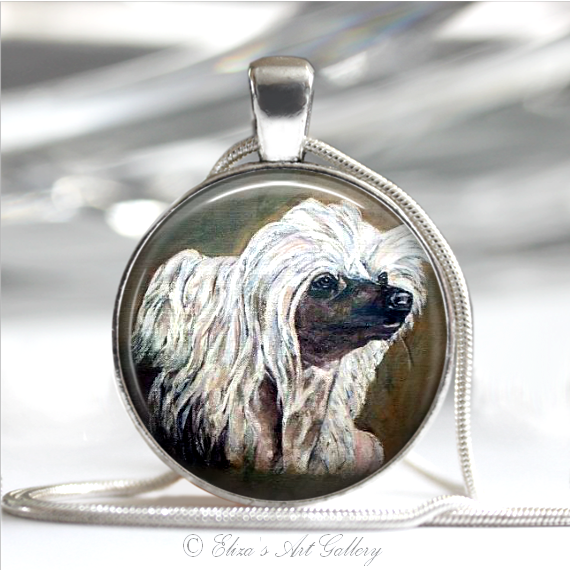 Silver Plated Chinese Crested Dog Art Pendant Necklace
