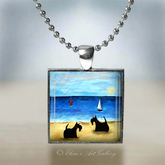 Silver Plated Scottish Terriers on a Beach Pendant Necklace