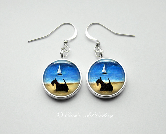 Silver Plated Scottie Terrier Dog Earrings