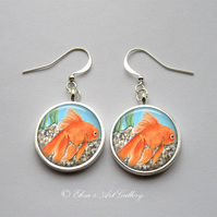 Silver Plated Goldfish Art Earrings