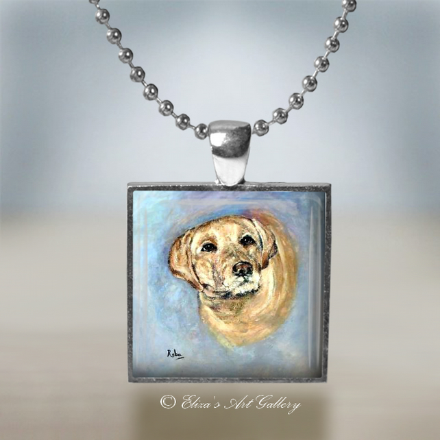 Silver Plated Labrador Dog Art Pendant Necklace