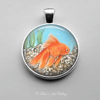 Silver Plated Goldfish Art Pendant
