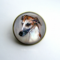 Gold Tone Greyhound Dog Art Brooch