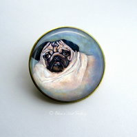 Gold Tone Pug Dog Art Brooch