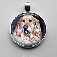 Silver Plated Golden Retriever Dog Art Pendant