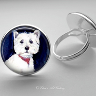 Silver Plated West Highland Terrier Dog Art Glass Cabochon Ring