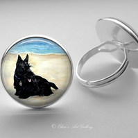 Silver Plated Scottish Terrier Dog Art Glass Cabochon Ring