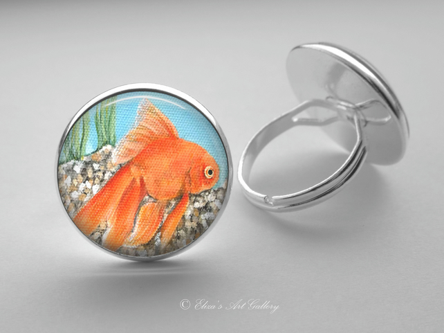 Silver Plated Goldfish Art Glass Cabochon Ring
