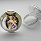 Silver Plated Sheltie Shetland Sheepdog Art Glass Cabochon Ring