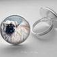 Silver Plated Tibetan Spaniel Dog Art Glass Cabochon Ring