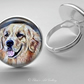 Silver Plated Labrador Dog Art Glass Cabochon Ring
