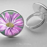Silver Plated Pink Chrysanthemum Flower Art Glass Cabochon Ring