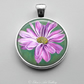 Silver Plated Pink Chrysanthemum Flower Art Pendant