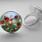Silver Plated Wildflower Art Glass Cabochon Ring