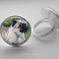 Silver Plated Cairn Terrier Dog Art Glass Cabochon Ring