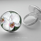 Silver Plated Orchid Flower Art Glass Cabochon Ring