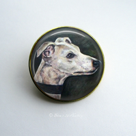 Gold Tone Whippet Dog Art Brooch