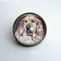 Gold Tone Golden Retriever Dog Art Brooch