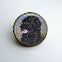 Gold Tone Giant Schnauzer Dog Art Brooch