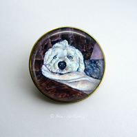 Gold Tone Old English Sheepdog Art Brooch