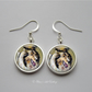 Silver Plated Sheltie Shetland Sheepdog Art Earrings