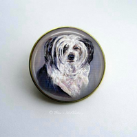 Gold Tone Chinese Crested Dog Art Brooch