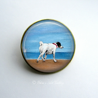 Gold Tone Smooth Fox Terrier Dog Art Brooch